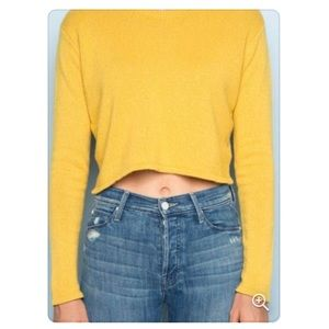 Brandy Melville Cropped Yellow Sweater